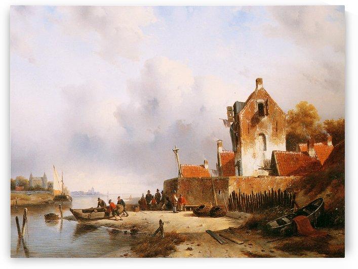 Summer river view Sun by Charles Henri Joseph Leickert