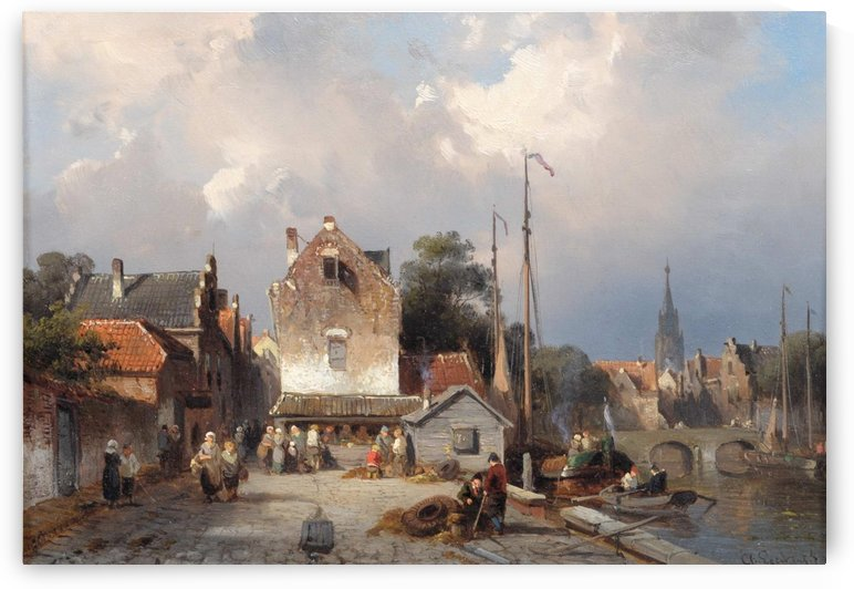 Townsfolk with church in the background by Charles Henri Joseph Leickert