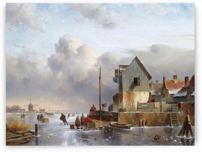 Townsfolk on lake during winter by Charles Henri Joseph Leickert