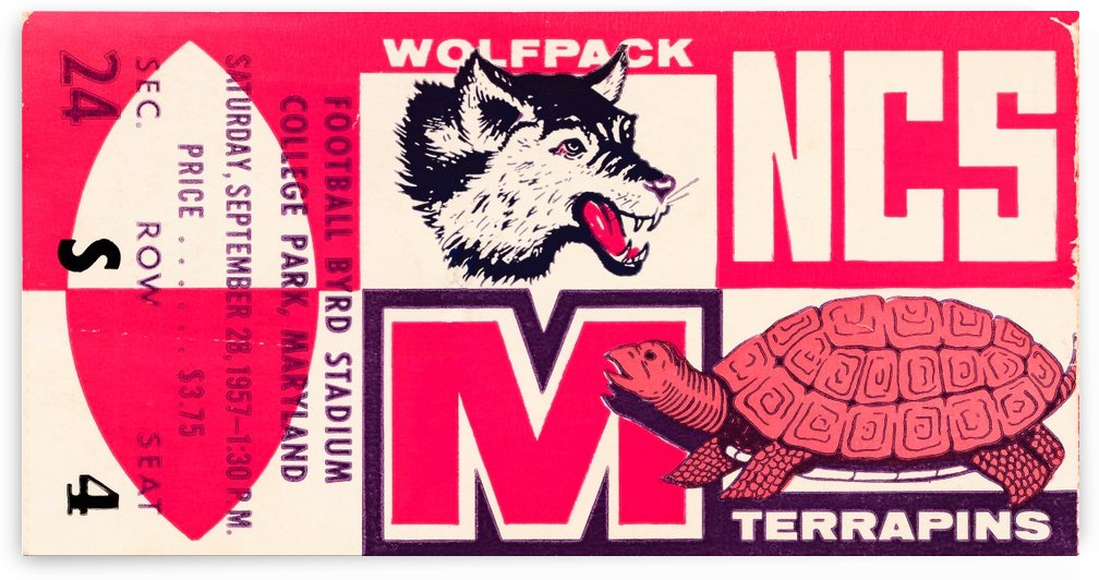 1957 nc state maryland football ticket stub art by Row One Brand