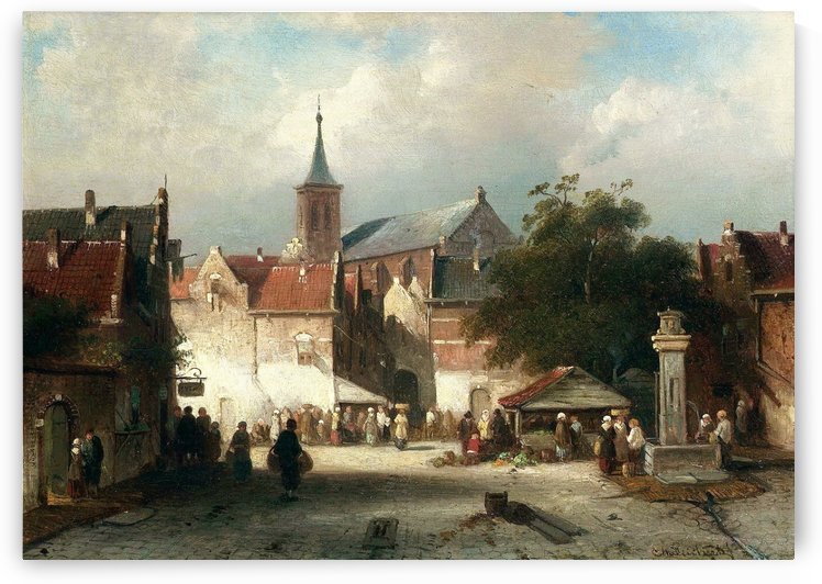 A busy market in a continental town by Charles Henri Joseph Leickert