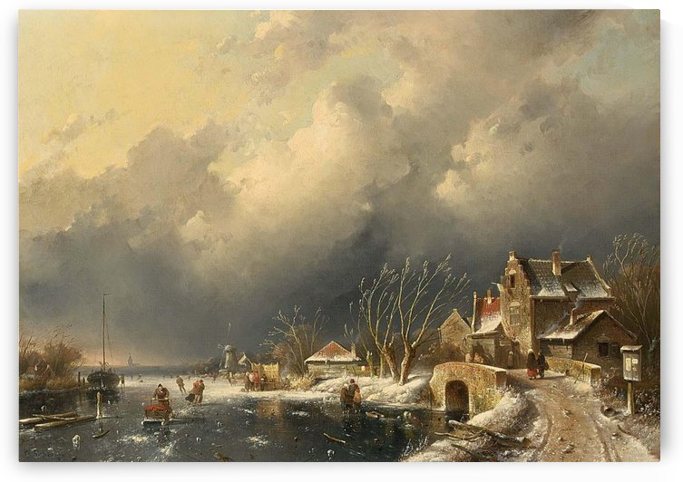 Winter landscape with skaters near a Koek-en-Zopie by Charles Henri Joseph Leickert