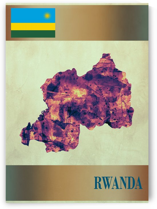 Rwanda Map with Flag by Towseef