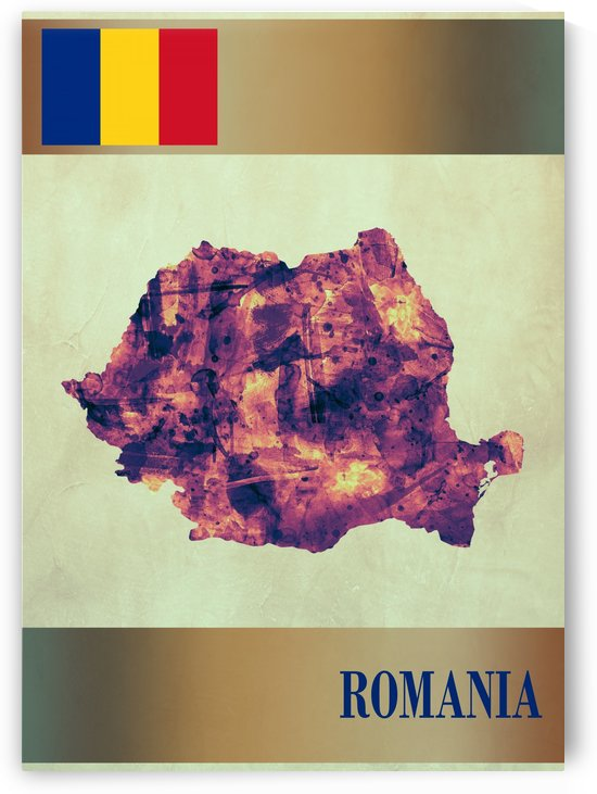 Romania Map with Flag by Towseef