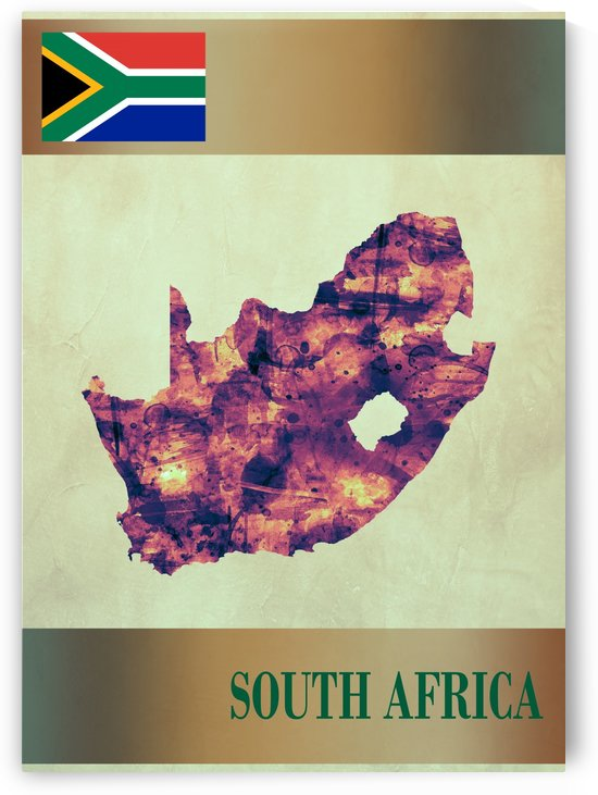 South Africa Map with Flag by Towseef