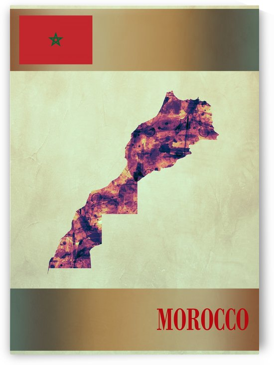 Morocco Map with Flag by Towseef