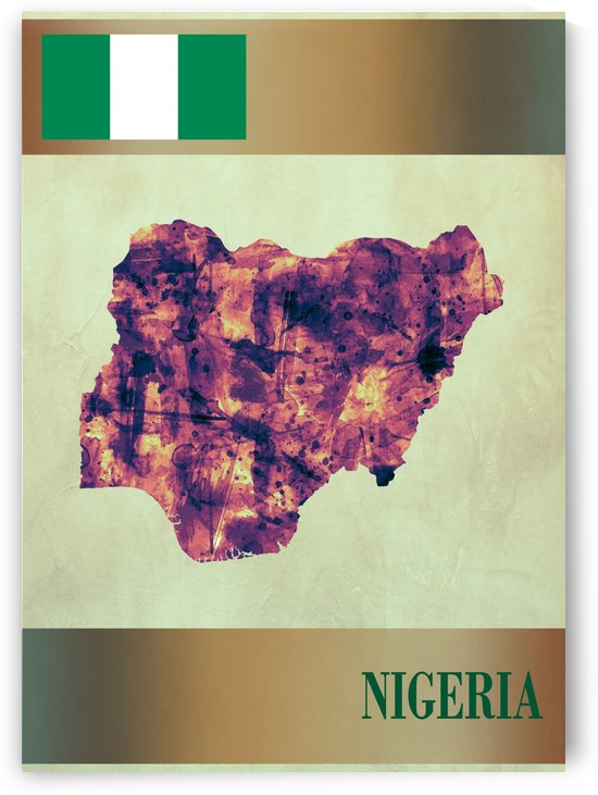 Nigeria Map with Flag by Towseef