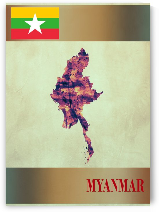 Myanmar Map with Flag by Towseef
