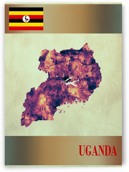Uganda Map with Flag by Towseef