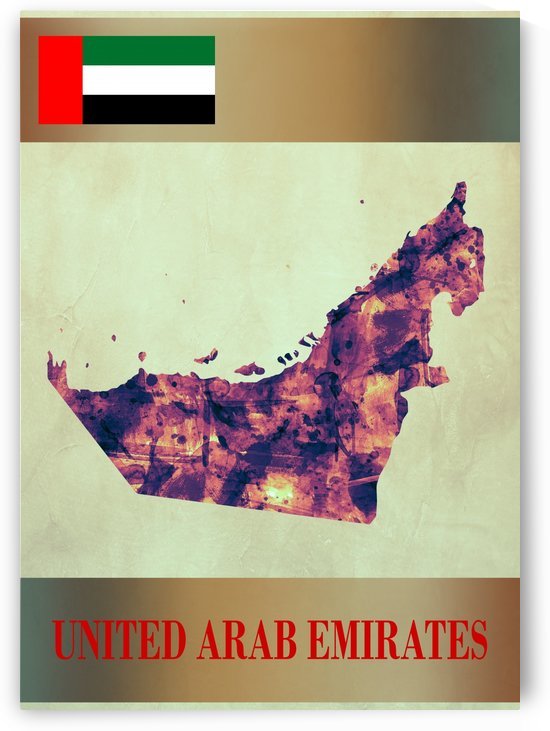 United Arab Emirates Map with Flag by Towseef