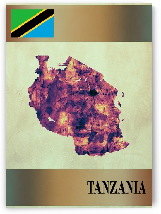 Tanzania Map with Flag by Towseef