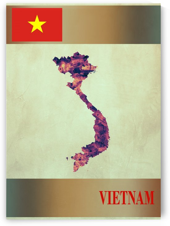 Vietnam Map with Flag by Towseef