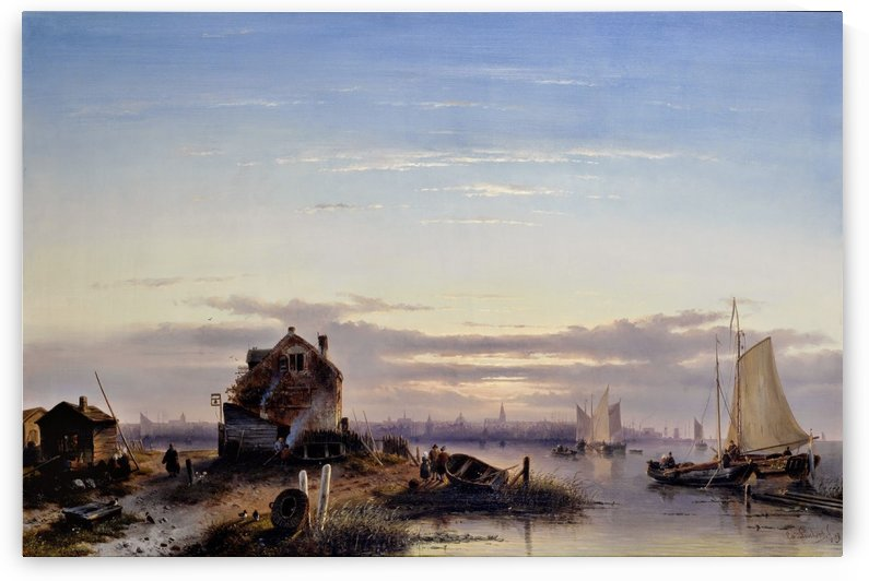 View on the Ij with Amsterdam in the background by Charles Henri Joseph Leickert