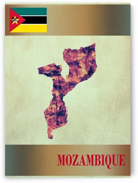 Mozambique Map with Flag by Towseef