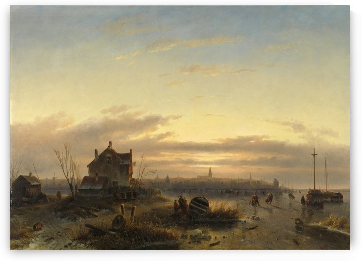 Winter on the IJ before Amsterdam by Charles Henri Joseph Leickert