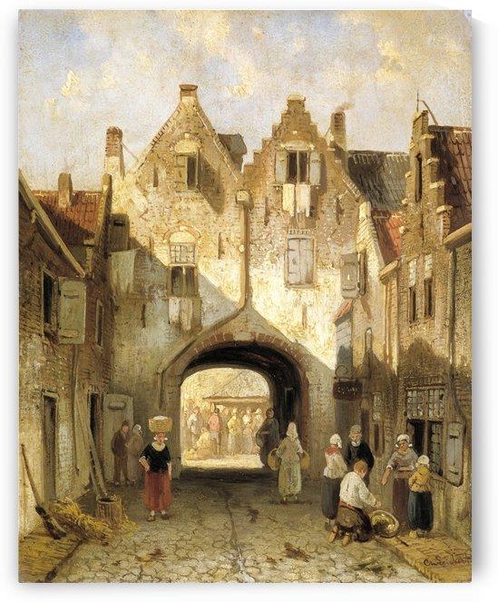 The old port by Charles Henri Joseph Leickert
