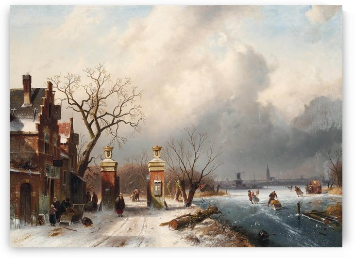 Skaters by a Dutch hamlet by Charles Henri Joseph Leickert