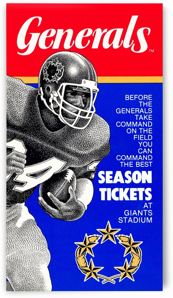 1984 new jersey generals usfl football poster by Row One Brand