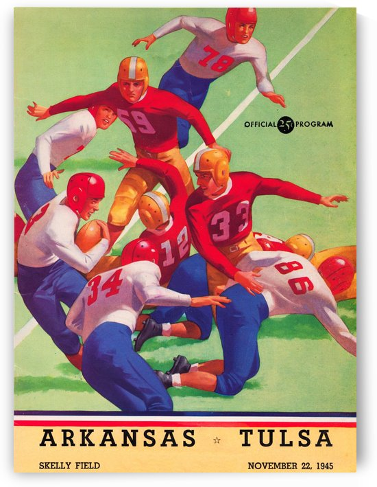 1945 university tulsa football program cover art by Row One Brand
