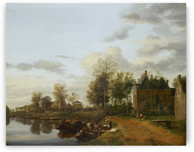A country house on the vliet to Delft by Jan van der Heyden