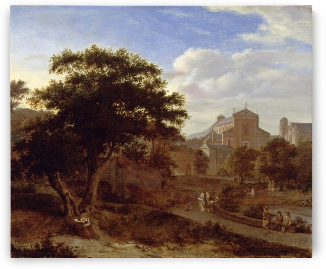 Two Churches and a Town Wall by Jan van der Heyden