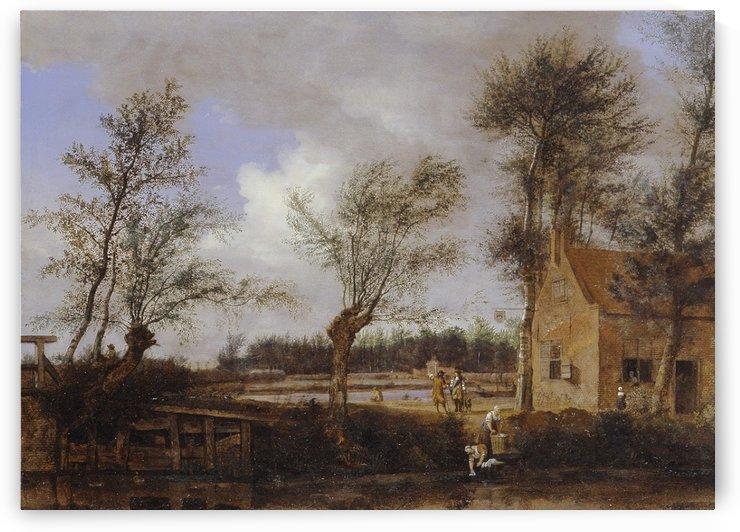The inn of the Black Pig in Maarssen by Jan van der Heyden
