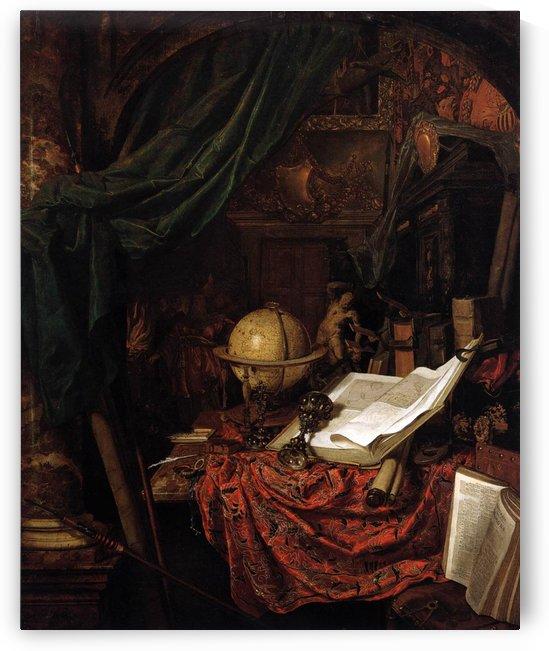 Still-Life with Globe, Books and Chinese Silk by Jan van der Heyden