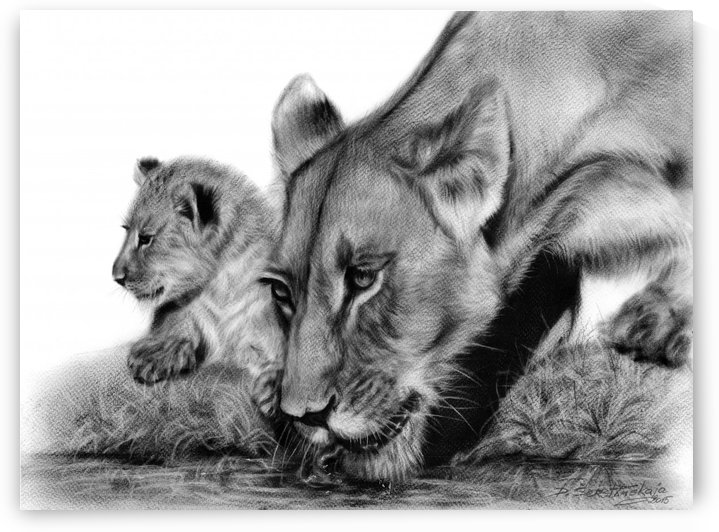 Lioness With Her Cub by Danguole Serstinskaja