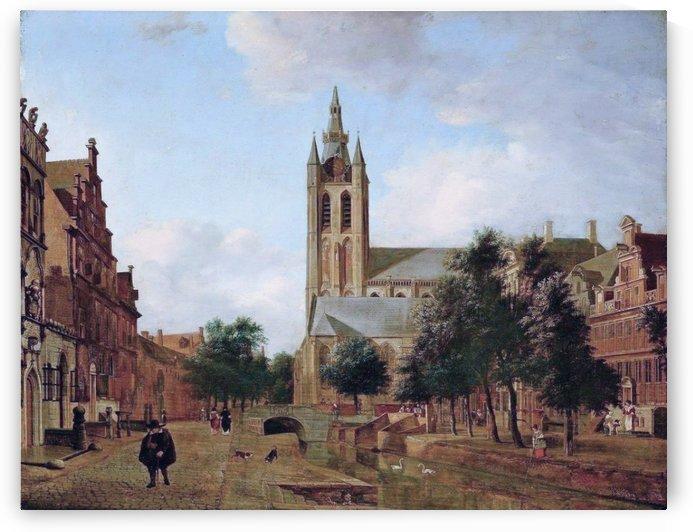 The Oude Kerk on the Oude Delft in Delft by Jan van der Heyden