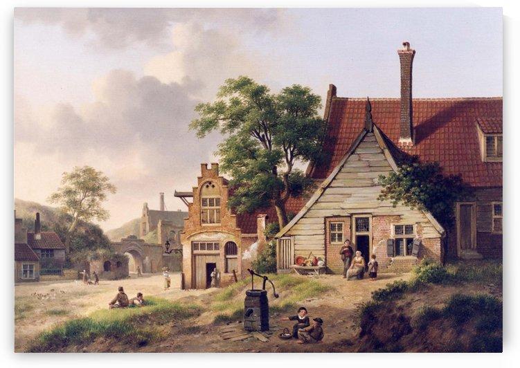 A Dutch Village Scene with Figures by Jan van der Heyden