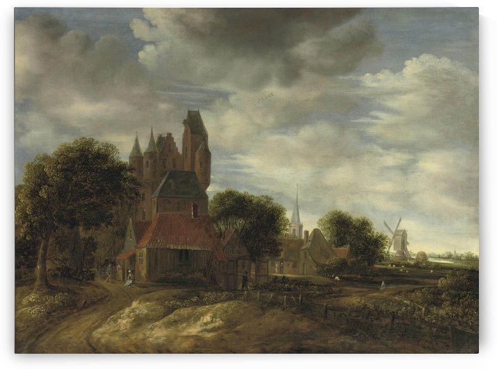 The outskirts of a Dutch town with cottages and castle by Jan van der Heyden