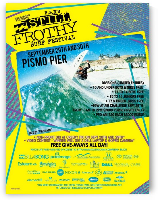 2012 STILL FROTHY Surf Festival Print - Surfing Poster by Surf Posters