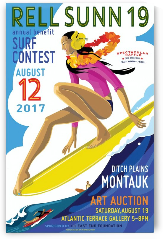 2017 RELL SUNN Montauk Print - Surfing Poster by Surf Posters