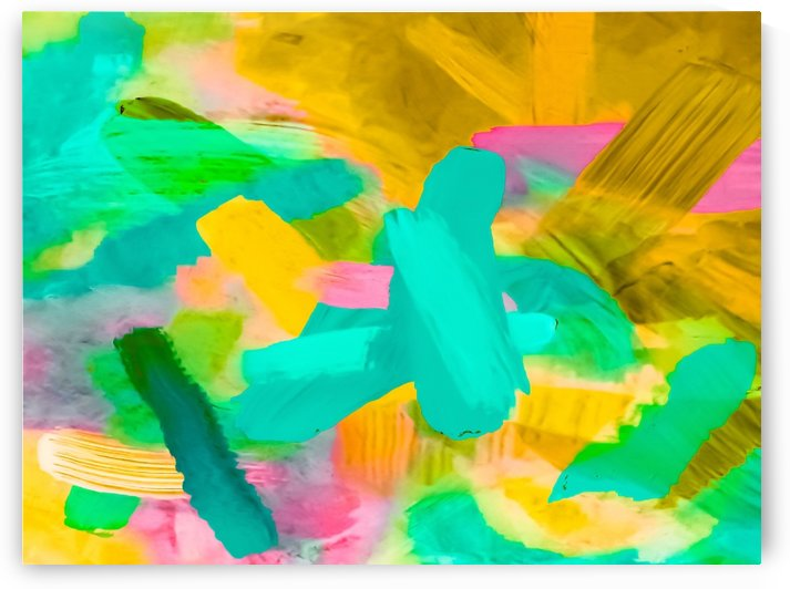 splash painting texture abstract background in blue yellow pink by TimmyLA