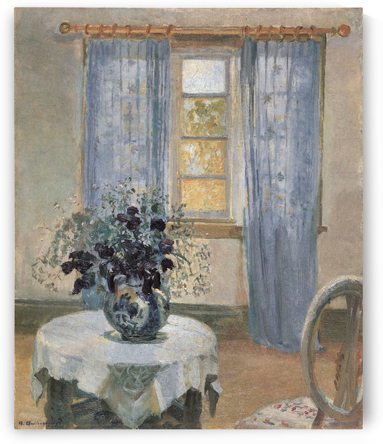 Blue clematis in the studio of the artist by Anna Ancher by Anna Ancher