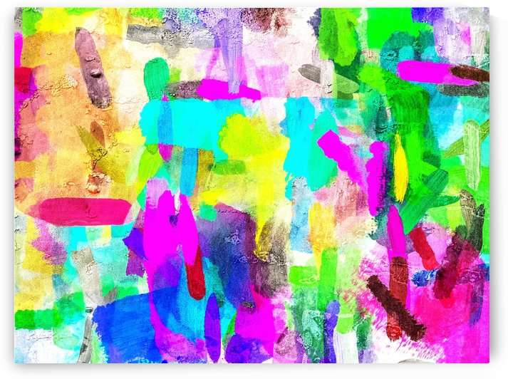 splash brush painting texture abstract background in blue pink yellow green by TimmyLA