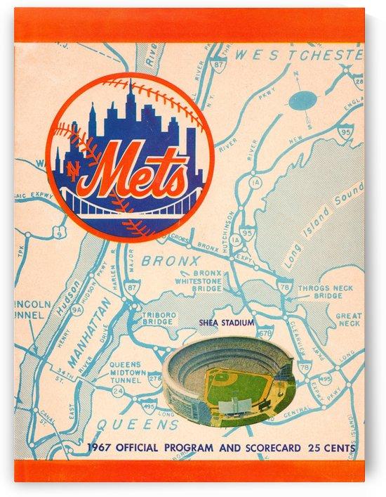 1967 new york mets vintage baseball scorecard poster wall art by Row One Brand