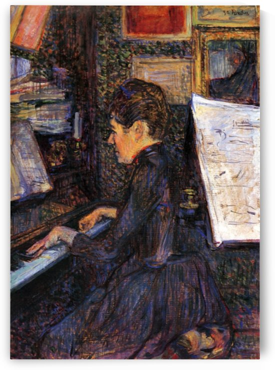 Lady Dihau playing piano by Toulouse-Lautrec by Toulouse-Lautrec