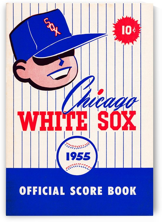 1955 chicago white sox mlb baseball score book poster by Row One Brand