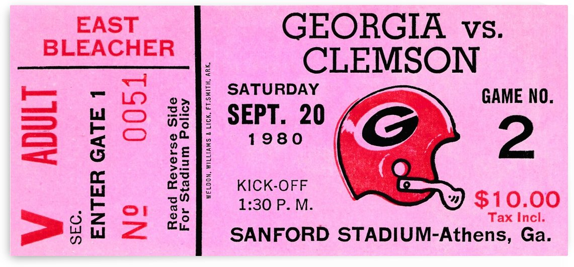 university of georgia college football ticket stub print on wood by Row One Brand