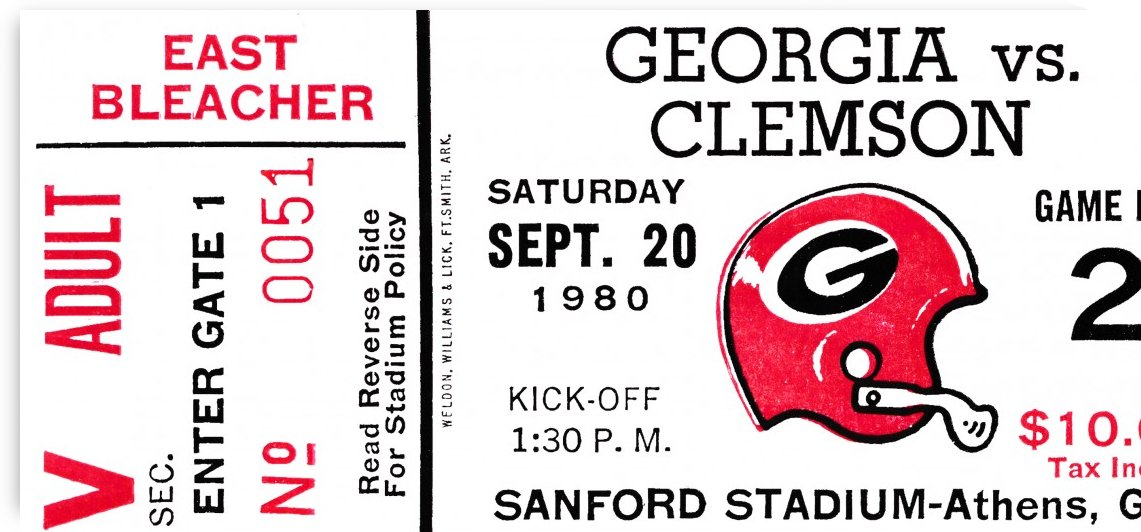 1980 university of georgia college football ticket sports prints on wood by Row One Brand