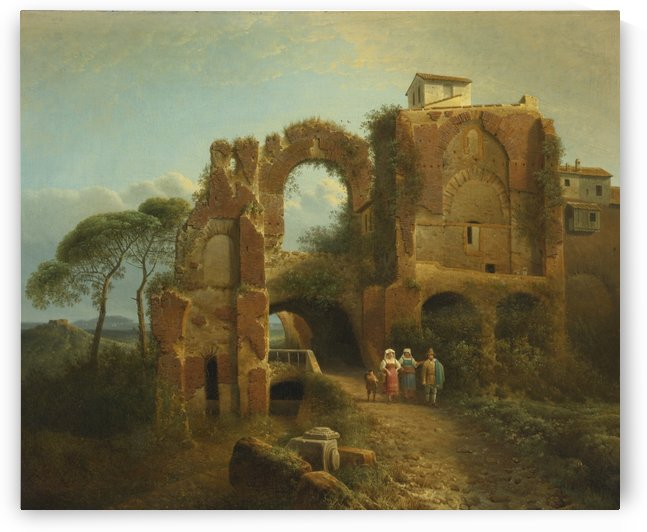 Landscape with ruins and figures by Josephus Augustus Knip