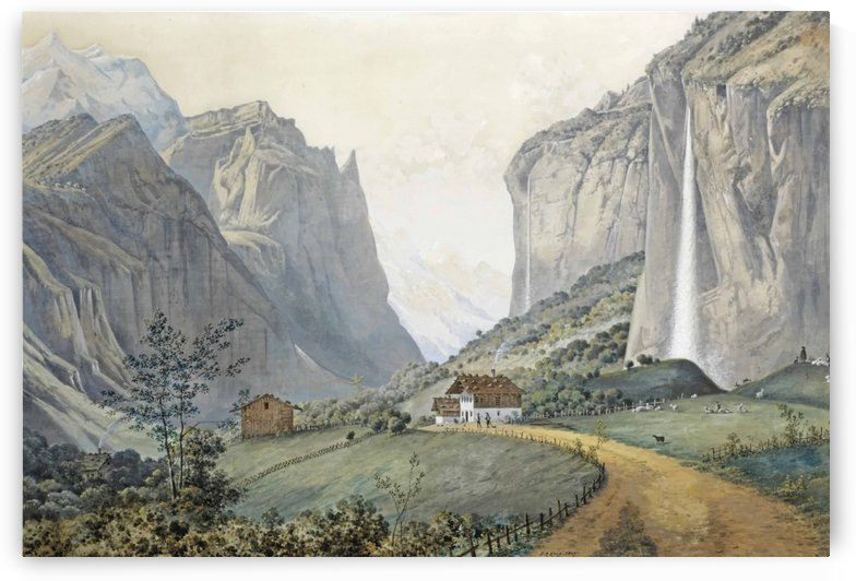 The Staubbach Falls by Lauterbrunnen in the Swiss Alps by Josephus Augustus Knip