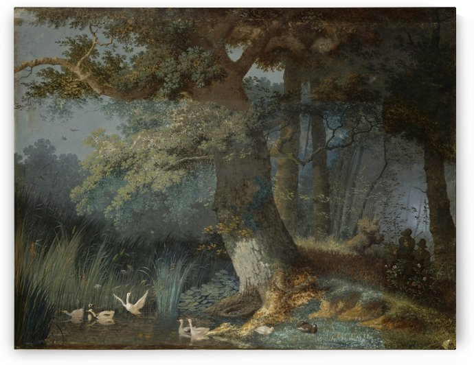 Eendenvijver in een bos met twee jagers by Josephus Augustus Knip