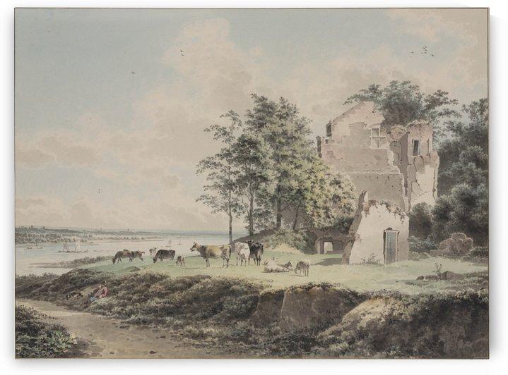 Rivierlandschap met ruine by Josephus Augustus Knip