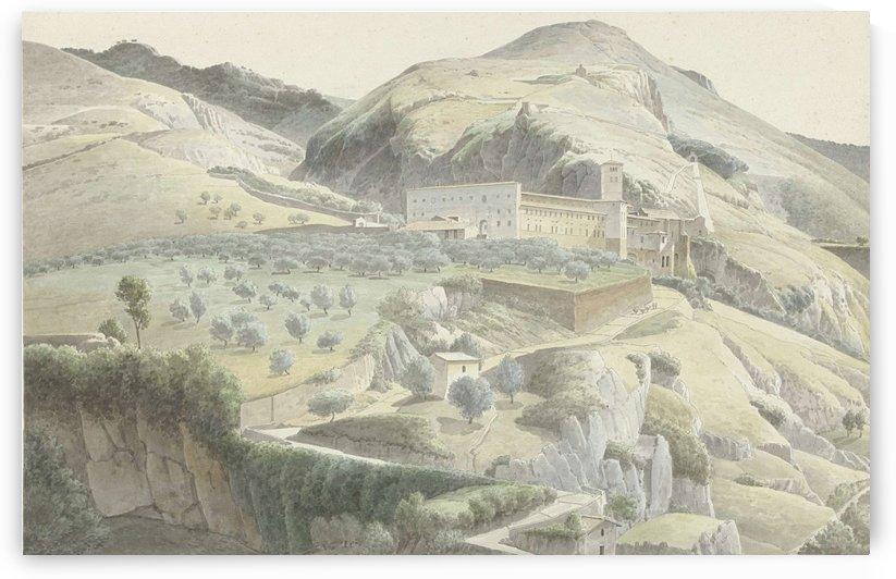 Landschap met klooster bij Subiaco by Josephus Augustus Knip