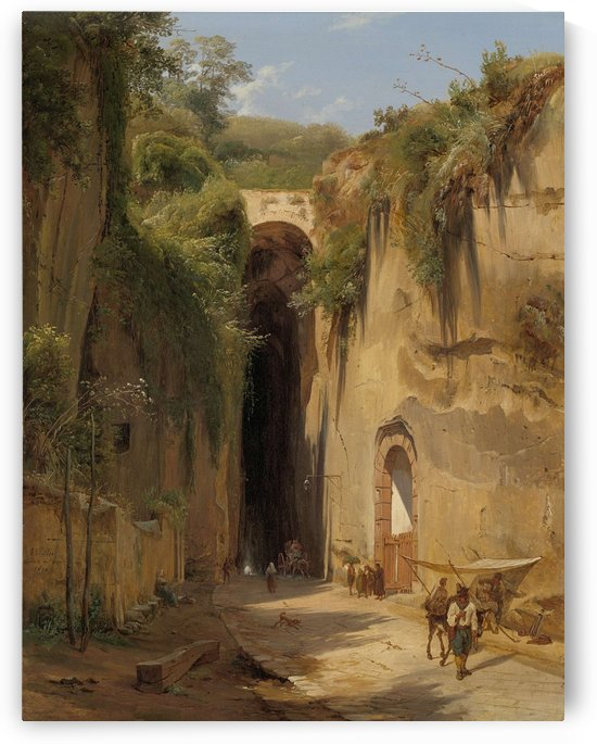 The Grotto of Posillipo at Naples by Antonie Sminck Pitloo