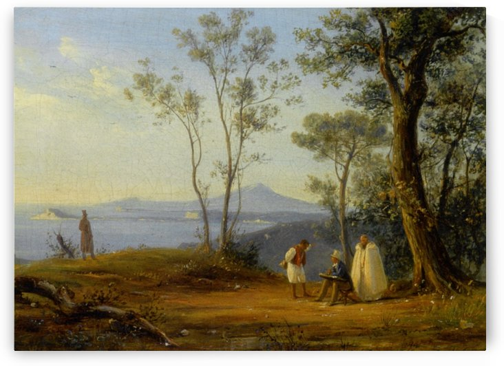 A Painter At Work in an Italianate Coastal Landscape by Antonie Sminck Pitloo