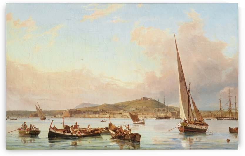 Naples, view of the Vomero hill, from the sea by Antonie Sminck Pitloo