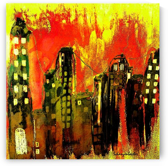 City on fire by Aurelia Schanzenbacher Sisters Fine Arts